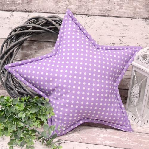 Polštářek HVĚZDA DOTS fialková s puntíky