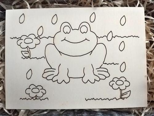 Dřevěná omalovánka - žabička v dešti