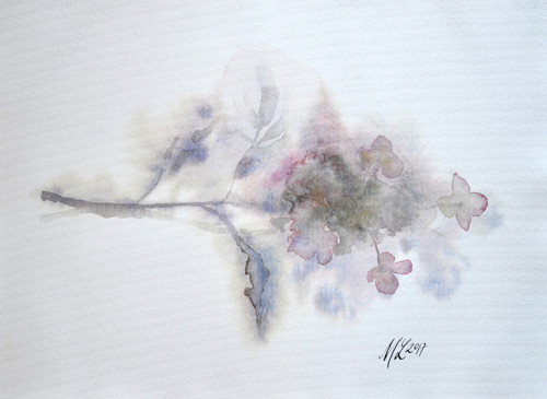 Akvarel hortenzie
