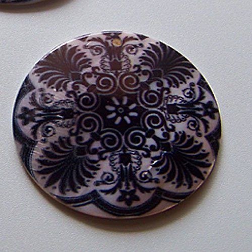 Perleťové malované kolečko tlustší, 5 cm, Kaleid.