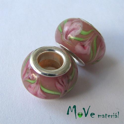 Korálek skleněný s širokým průvlekem 1 kus, růžový
