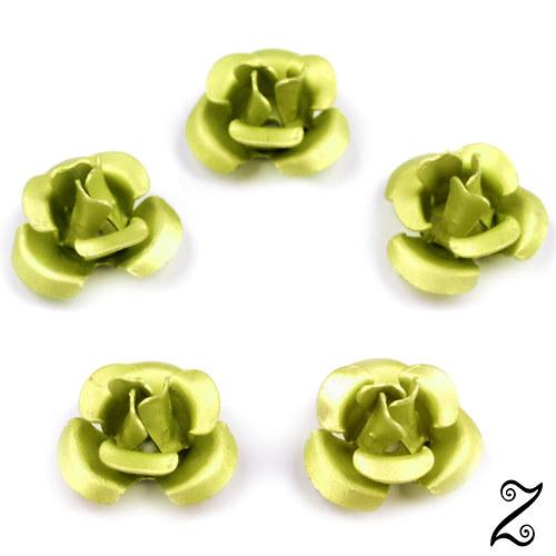 Kovová růžička, zelenkavá, 12 mm (10ks)
