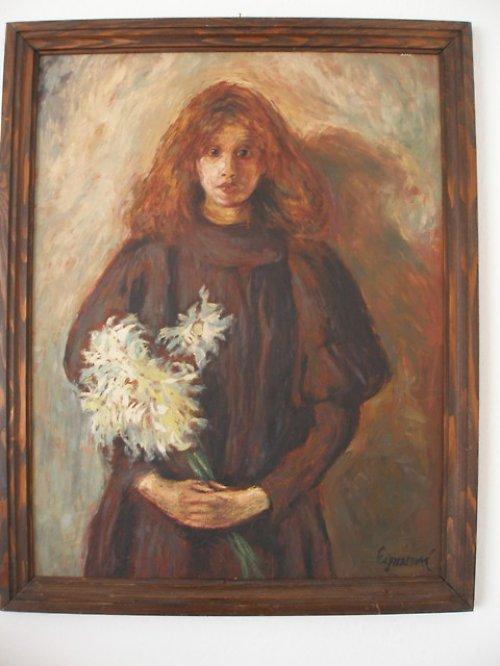 Děvče s chryzantémami