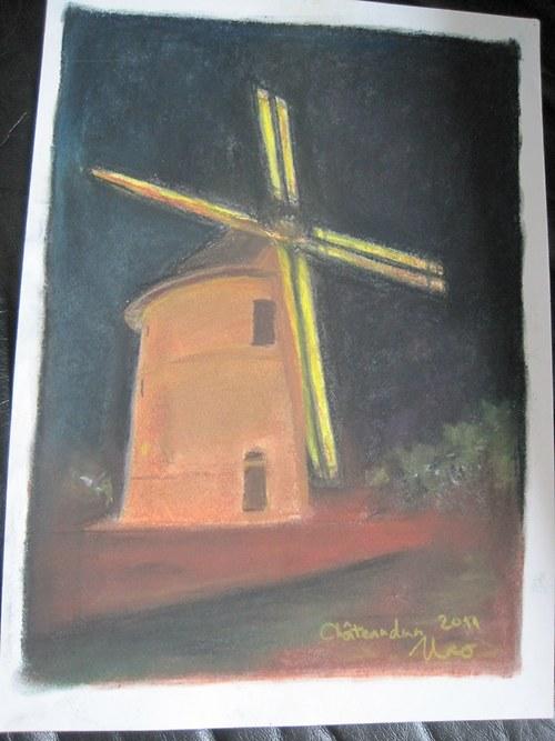 Noční mlýn, pastel A3