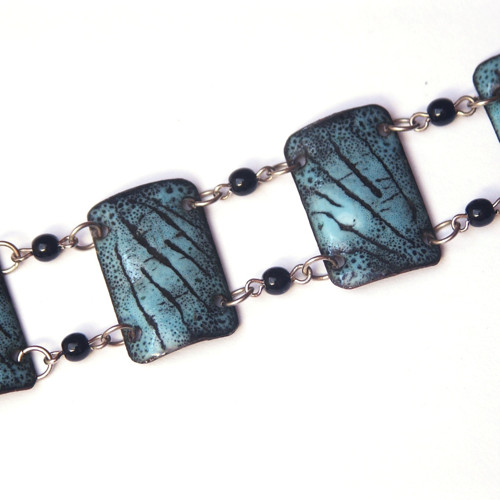 Modročerný větvičkový - smaltovaný náramek