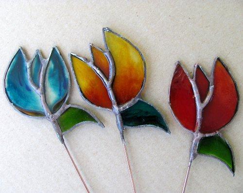 Zápichy do květináče žíhané TULIPÁNY