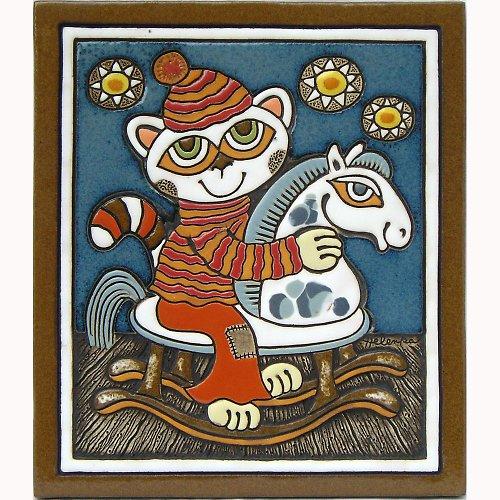 Keramický obrázek - Kočka a houpací koník K-148-M