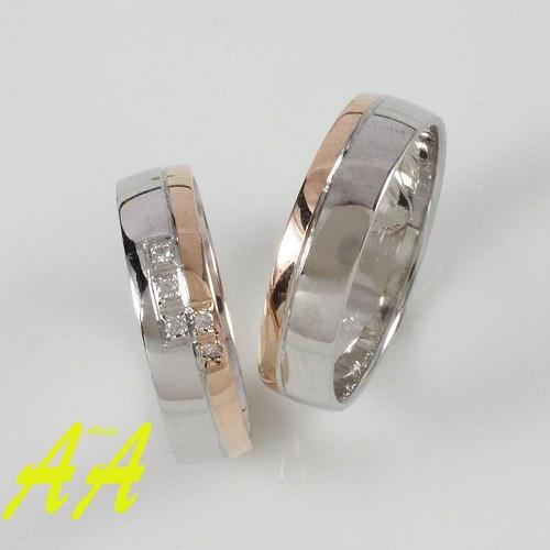 Růžovo bílé snubní prsteny s brilanty