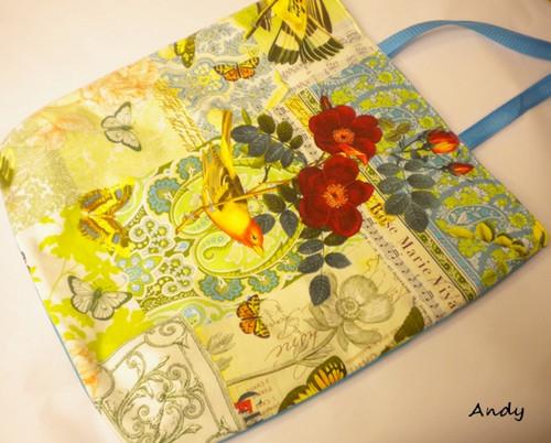 taška,kabela - květy s ptáčkem