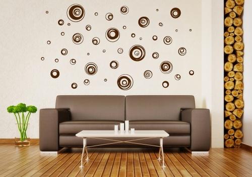 Samolepky na zeď - Abstraktní kruhy (60 x 79 cm)