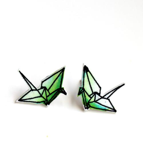 Náušnice: Origami jeřábi akvarel světle zelení