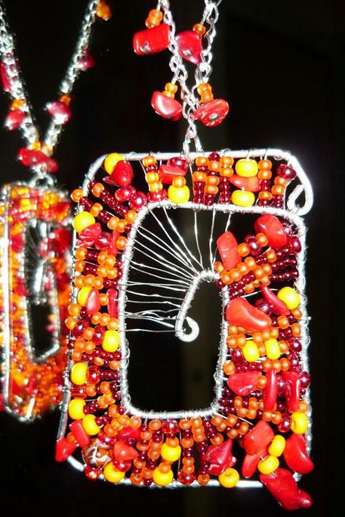 Drátkované náhrdelník Ohnivý
