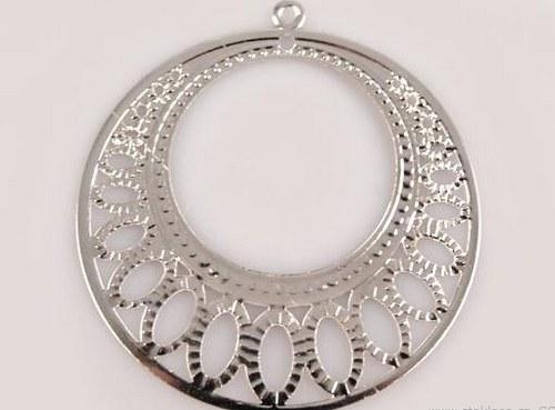 Filigrán kruh Ø48mm kapky stříbrný 2 kusy