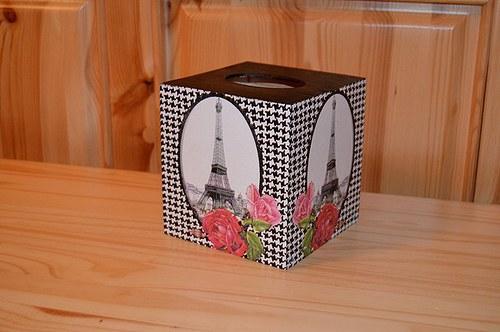 Krabička na kapesníky - Paříž v černé