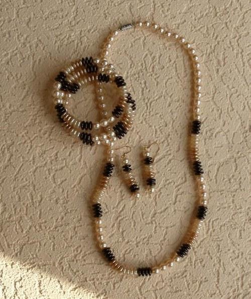 souprava - hnědá duha -náhrdelník+náramek+náušnice