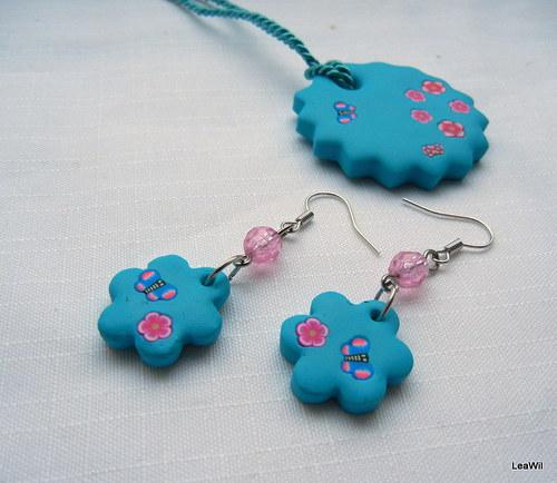 Růžovo-tyrkysové květiny s motýlkem - sada