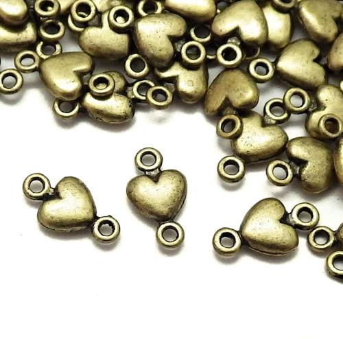 Bronzové mezidílky se srdíčky, 10 kusů