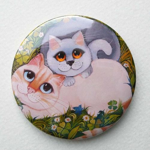 Dvě kočky v trávě -  magnet 109