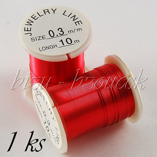 Měděný lakovaný drát červený 0,3mm 10m - 1ks