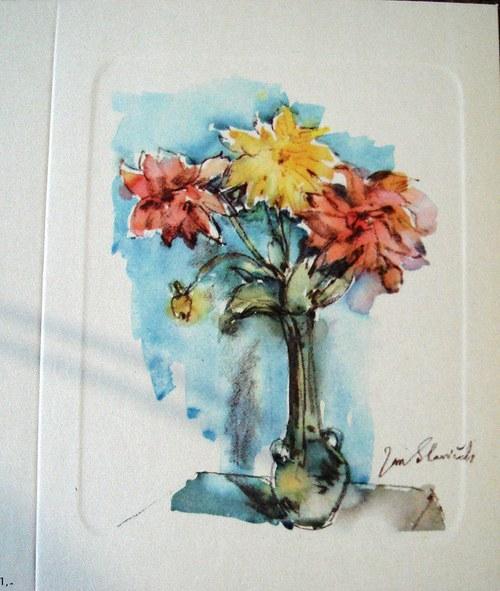 J. Slavíček - Květiny ve váze, blahopřání k sňatku