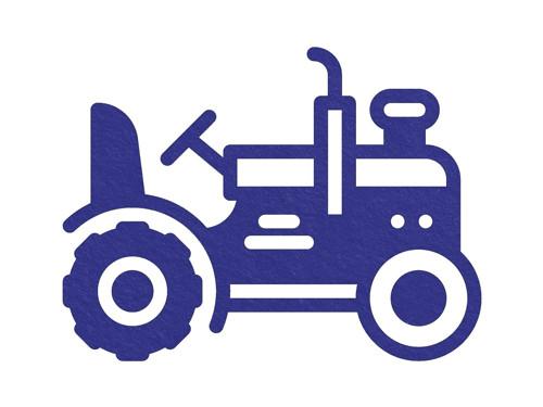 Sametový nažehlovací potisk - traktor modrý