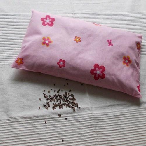 Pohankový polštářek - růžové kyti  - 40x25 cm