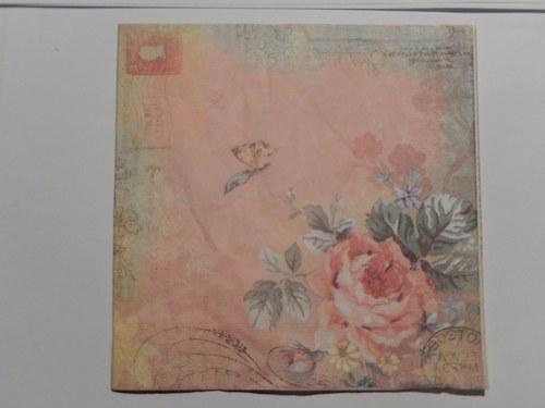 Ubrousek na decoupage - starodávná růže
