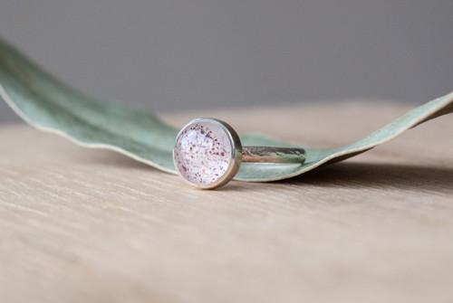 """Prsten """"Hanami\""""- křišťál s inkluzemi, stříbro 925"""