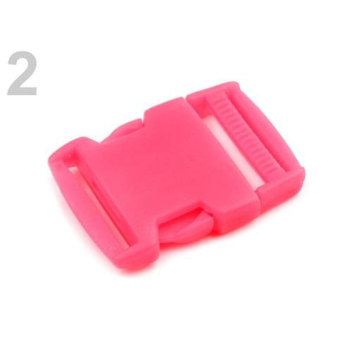 Spona trojzubec š. 30 mm (5sad) - růžová neon
