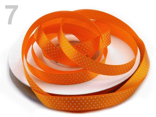Saténová stuha 10 mm:Tečky:oranžová