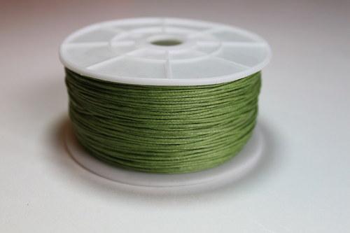 Voskovaná bavlněná šňůrka zelená - 1m
