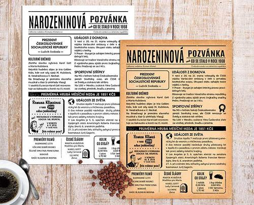 NAROZENINOVÁ POZVÁNKA VE STYLU NOVIN 1968 (No.88a)