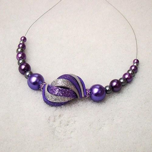 náhrdelník ulita třpytivá fialovostříbrná