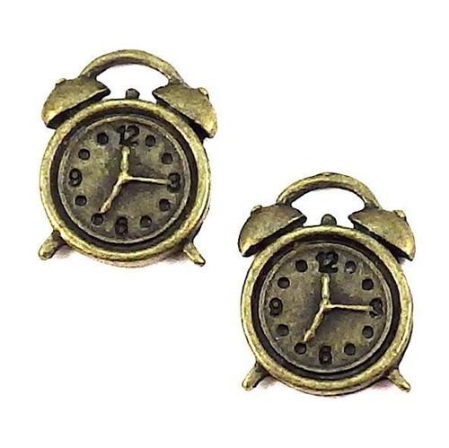 Bronzový přívěsek - hodiny, 2 kusy