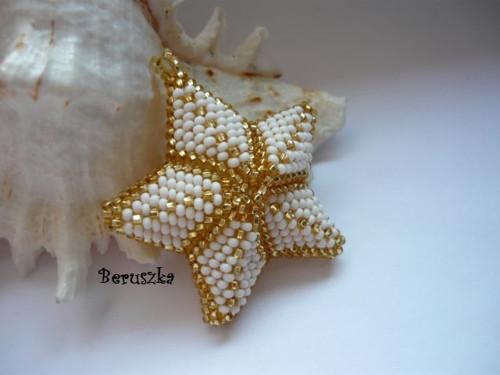 Vánoční hvězda 3D - bílo-zlatá