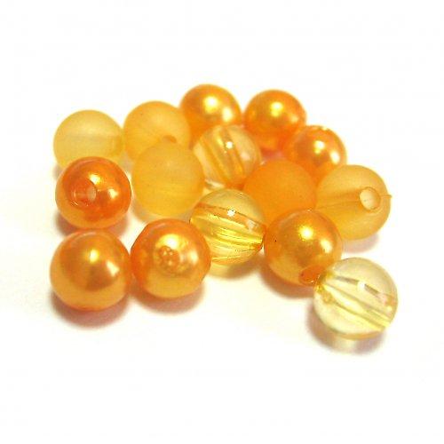 Směs perel a korálků - oranžová - 50 ks