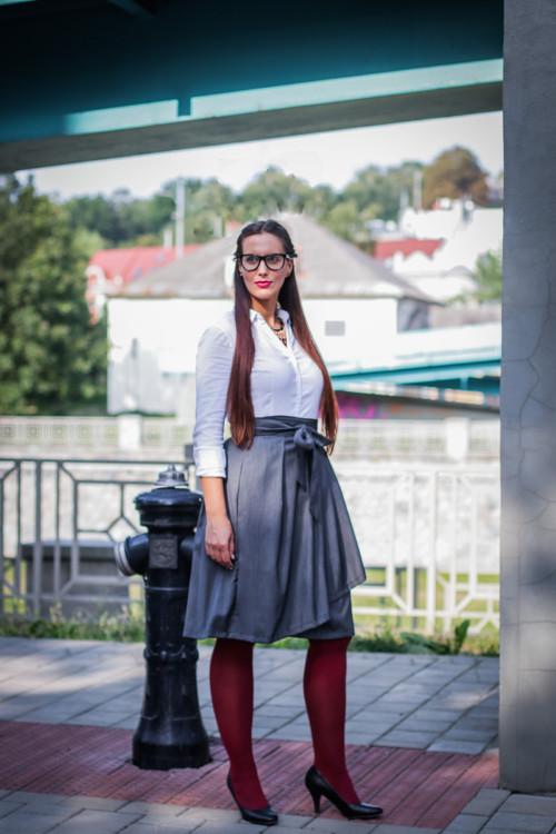 Zavinovací sukně ANJA, tmavší šedá, pas 78-86 cm