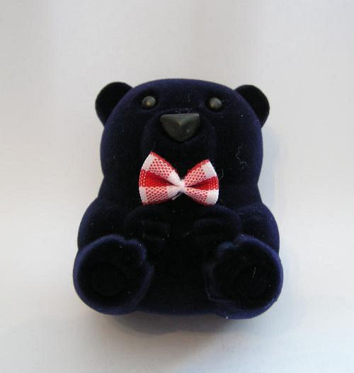 Sametová krabička na šperky - medvídek tmavě modrý