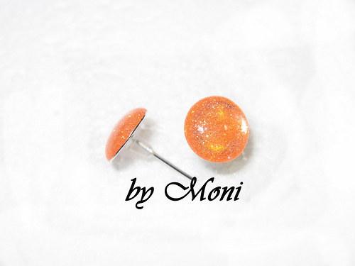 Náušnice ťupky - oranžové třpytky