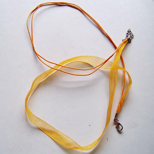 organza šňůrka 2+1/ 45cm/ oranžová sv./ 1ks