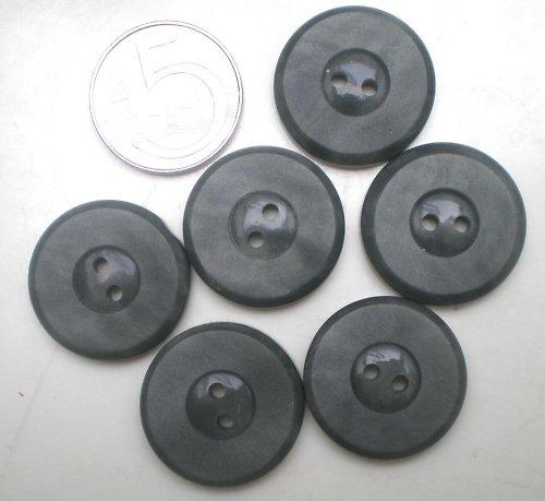 6 tmavě šedých retro knoflíků