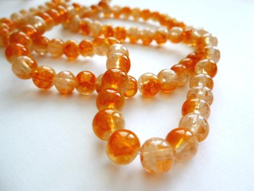 Skleněné korálky oranžové 6mm/30ks