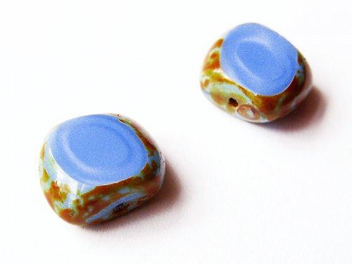 Modré kosodélníky s travertinem (ploškované)