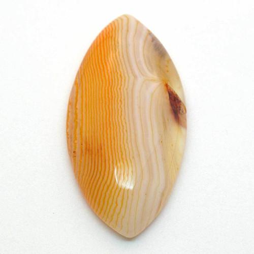 Kabošon oranžový pruhovaný achát slza 39mm