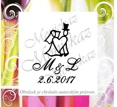 Svatební č. 3 s iniciály a datem.