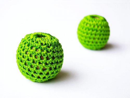 Obháčkované kuličky zelené ((KOM90))