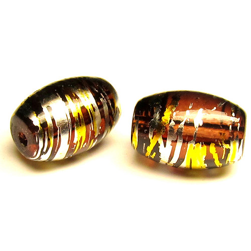 Sklo kovově žíhané - ovál větší - 5 ks