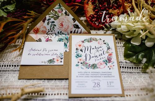 Svatební oznámení - Boho Peonies - rezervace