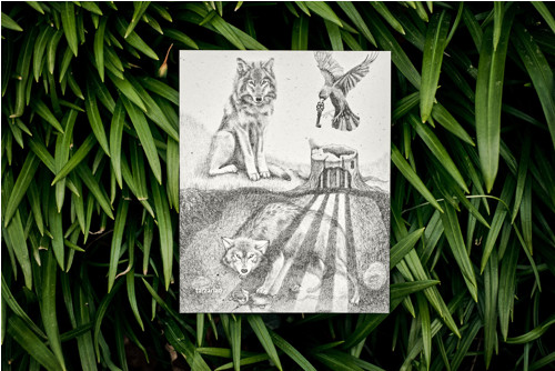 Uvězněný vlk • pohlednice přírodní