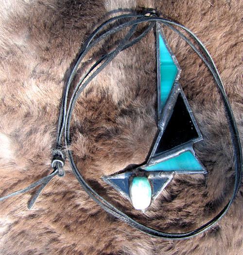 Vitrážový šperk Zelené oko